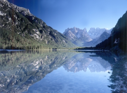 Il Lago di Landro con il Monte Cristallo